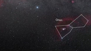 The ribbon (which cannot be seen in this picture) is in the bottom half of the Orion constellation.