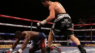 Carl Froch (right) knocks down Yusaf Mack during the IBF World Super Middleweight Title fight at the Capital FM Arena, Nottingham.