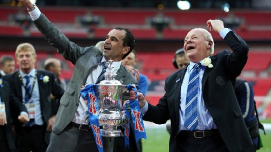 Roberto Martinez and Chairman Dave Whelan celebrate Wigan&#x27;s FA Cup win.