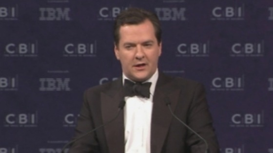 Chancellor George Osborne pictured at the CBI annual dinner.