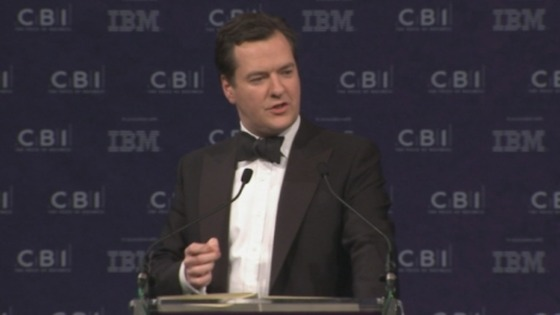Chancellor George Osborne addressing business leaders at the CBI annual dinner.