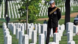 Prince Harry during his visit to the Arlington National Cemetery in Virginia