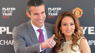 Robin Van Persie arrives with wife Bouchra for the Manchester United Player of the Year Awards at Old Trafford, Manchester.