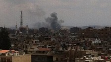 More black smoke from shelling of targets in Damascus.
