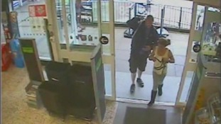 CCTV image of man and girl into shop