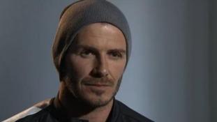 David Beckham speaking to ITV Football before PSG's match against Barcelona in April.