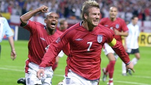 Beckham's spot-kick secured England an famous win against Argentina