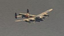 A Lancaster bomber flew over the Derwent reservoir today