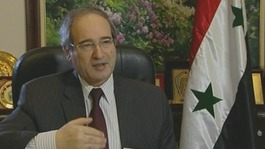 Faisal Mekdad, Syria's deputy foreign minister speaking to ITV News in Damascus today.