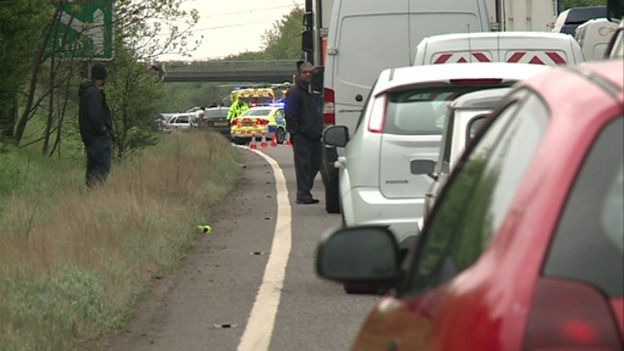 Police on the scene of A45 accident involving car and motorbike