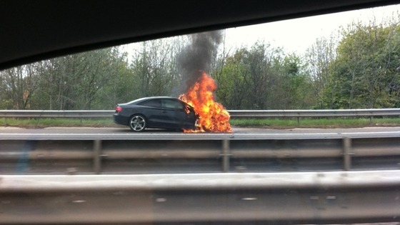There are lengthy tailbacks on the M1 due to a vehicle fire