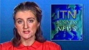 Penny Marshall presenting during ITN Business News whilst in her 20s.