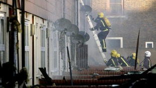Firefighters tackle a blaze in Peckham, London. C