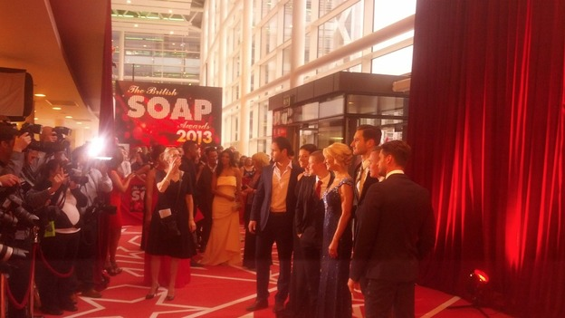 Hollyoaks star Gillian Taylforth and her onscreen sons on the red carpet.