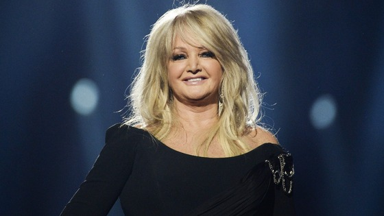 The UK's entry Bonnie Tyler at the Eurovision Song Contest final.