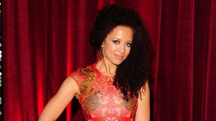 Natalie Gumede, Corrie's Kirsty Soames, arriving for the 2013 British Soap Awards.