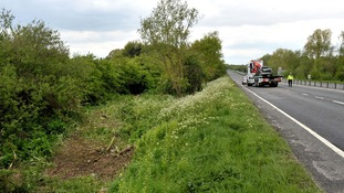 The section of the A419 near Swindon where the car left the road