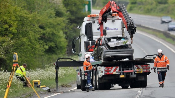 The grey Renault Clio is removed from the scene on the A419 near Swindon