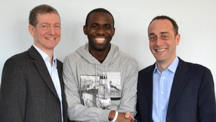 Dr Andrew Deaner, Fabrice Muamba and Dr Sam Mohiddin on the day of his release from hospital