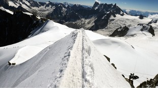 The Aiguille du Midi ridge pointing towards the Vallee Blanche is pictured near Mont-Blanc in Chamonix.
