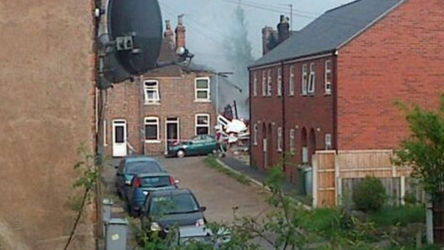 The site of the explosion in Newark, Nottinghamshire.