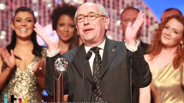 Malcolm Hebden, who plays Norris Cole, picks up Coronation Street&#x27;s award for Best Soap.