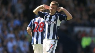 West Bromwich Albion's James Morrison celebrates scoring their first goal of the game to make it 3-1 to Man Utd