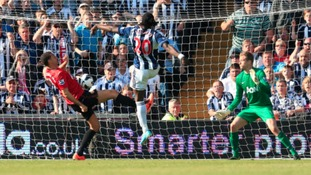 West Bromwich Albion's Romelu Lukaku (20) scores his team's fifth goal to complete a stunning comeback