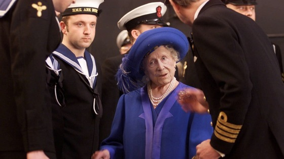 Queen Elizabeth, the Queen Mother meets the crew of HMS Ark Royal