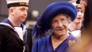 Queen Elizabeth, the Queen Mother greets the crew of HMS Ark Royal