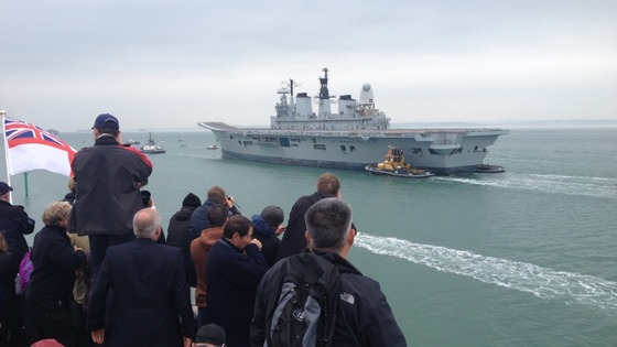 Crowds watch HMS Ark Royal