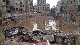 The debris from the collapsed factory where more than 1,000 people died.