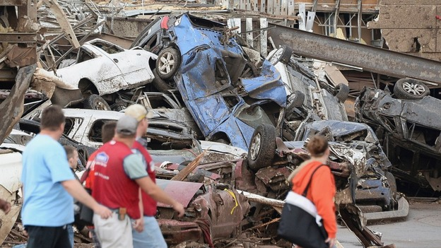 Cars piled after the tornado.