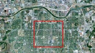 The red square shows the diameter of the tornado over a bird's eye photo of Moore in Oklahoma