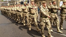Returning soldiers parade in Burnley