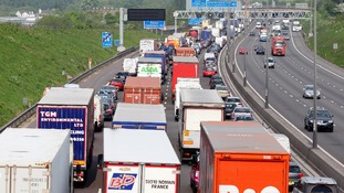 Traffic heads towards the Dartford River Crossing near Darenth, Kent, as the bank holiday getaway begins.
