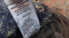 A Primark label is seen in the garments left among the rubble in Savar, Bangladesh
