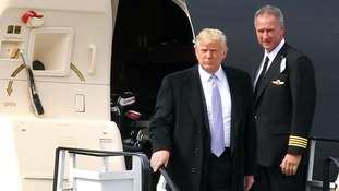 Donald Trump arrives at Aberdeen airport today ahead of his visit to the Scottish Parliament this week.