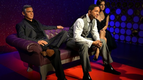 Waxwork of Will Smith (centre) joins George Clooney (left) and Emma Watson (right) on the A-list celebrity sofa