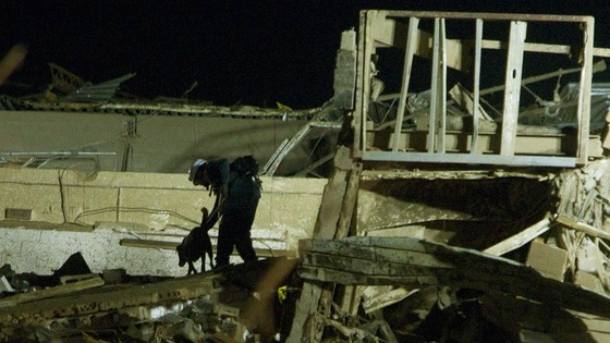 A search and rescue dog and its trainer work a pile of debris that was once Plaza Towers Elementary School.