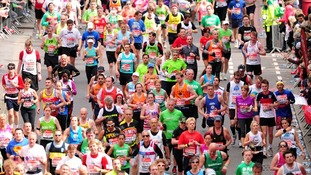 Runners during the 32nd Virgin London Marathon