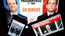 Socialist Francois Hollande and conservative President Nicolas Sarkozy are heading for a run-off in the race for France's presidency.