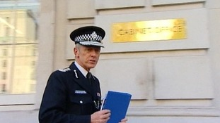 Metropolitan Police commissioner Sir Bernard Hogan-Howe arriving at yesterday's Cobra meeting.