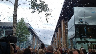 Confetti in shopping centre