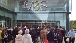 Crowds queue at M&S