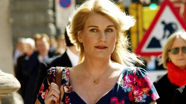 Sally Bercow pictured arriving at the High Court earlier in the case.