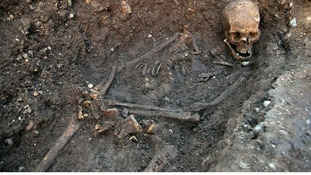 The remains of King Richard III, which were discovered under a city car park and were found in a hastily dug, untidy grave.