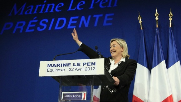 National Front&#x27;s President Marine Le Pen