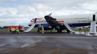 The British Airways flight with inflatable slides deployed