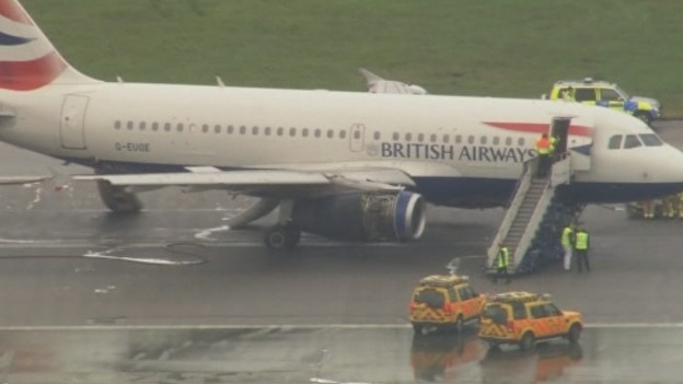 The BA plane pictured on Heathrow's northern runway after it landed and the passengers and crew were removed.